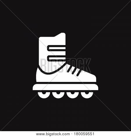 Inline skate icon vector roller solid flat sign pictogram isolated on black logo illustration