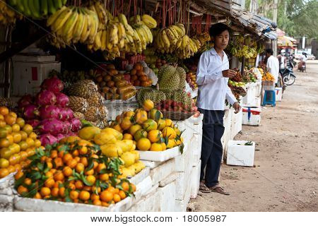 Young Man In Cambodian Market