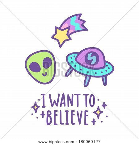 I want to believe. Alien head, comet and space ship