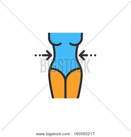 weight loss line icon woman's waist filled outline vector sign linear colorful pictogram isolated on white. logo illustration
