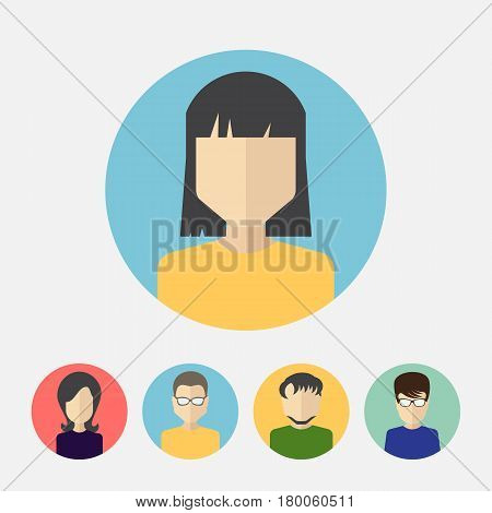 Set of Male And Female Faces Avatars or People Icon Collection. Human Persons in Flat Style for Profile Business Internet Social Network Community
