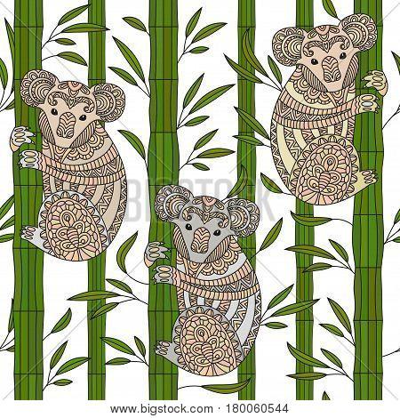 Hand drawn vector zentangle koala. Cute animal seamless pattern. Tribal style.