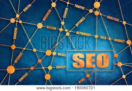 Search engine optimization word cloud business concept. SEO text. Molecule And Communication Background. Connected lines with dots. Brochure or report design. Sketch style illustration. Grunge brush