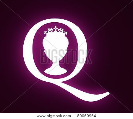 Vintage queen silhouette. Medieval queen front view . Elegant silhouette of a female head. Short hair. Royal emblem with Q letter. 3D rendering. Neon shine