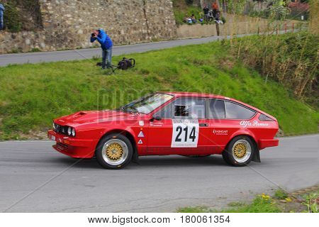 Testico Italy - April 01 2017-64 Di Sanremo Rally: The Alfa Romeo GTV six-cylinder carried by the crew E. Mekler-Mekler L. during the second special stage of speed 'timed race, one that led to the summit from Testico' del Colle D'Oggia.