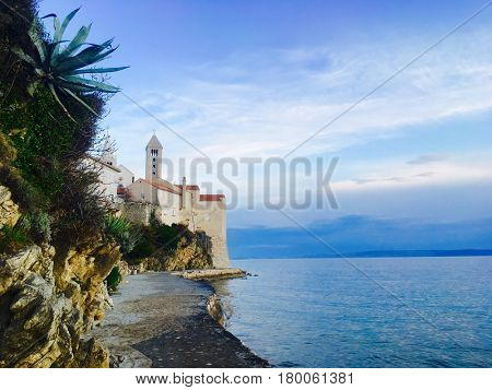 View of the old town of Rab and sea, Croatia