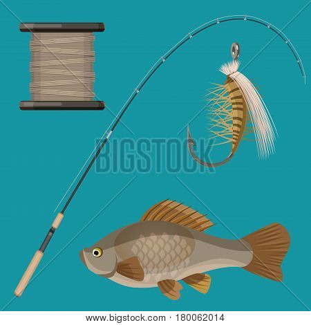 Set of fishing tackles in flat style isolated on white. Vector illustration of two hooks and one hook with synthetic bait, bobbin with fishing line, landing net, orange spinning reel, fish-rod and fish.