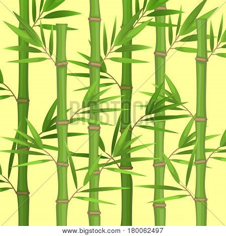 Stalks of bamboo with green leaves flat theme in realistic style isolated on white. Vector illustration of tropical plants. Stems of bamboo grove