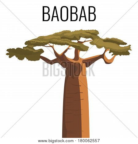 African baobab tree icon color emblem with text isolated on white background. Vector illustration of powerful plant un realistic style