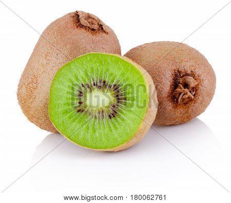 Fresh Cut Kiwi Fruits Isolated On White Background