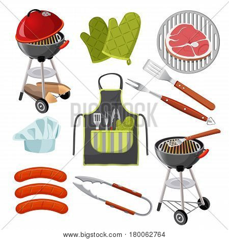 Set of barbecue utensils and food isolated on white. Vector illustration of portable grill, green mittens, fresh meat on grid, three sausages, shovel, fork and clamp, apron with tools and chef s hat.