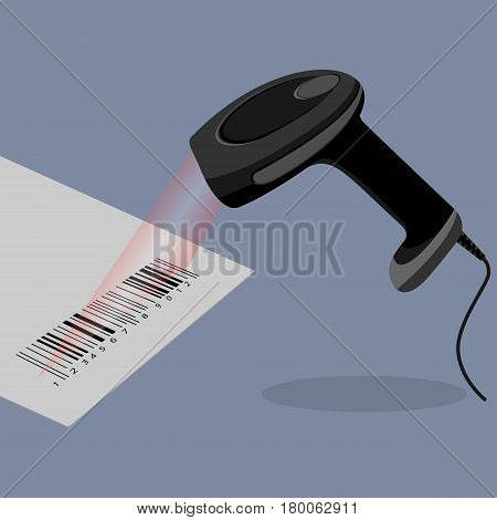 Black handheld barcode scanner scanning bar code in flat design on background. Barcode on paper with laser beam. Vector illustration