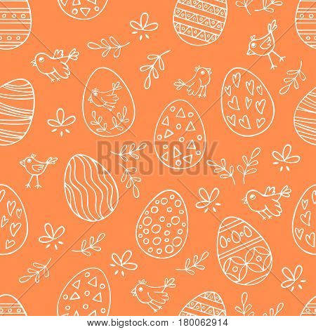 Seamless pattern with hand drawn Easter eggs on orange background. Perfect holidays pattern in line style can use for wrapping paper holidays background
