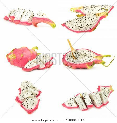 Collage of pitahaya isolated on a white background with clipping path