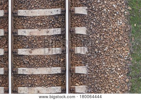 Train tracks texture,  old railway rails, top view, background