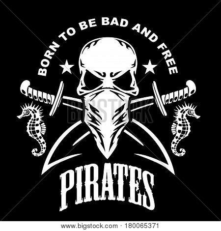 Gangster label badge emblem design elements. Gangsta style quotes. Thug life. Stay true. Street wars. Crossed weapon, skull in hat. Vintage vector illustration.