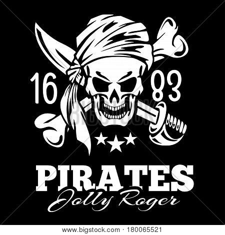 Vintage label pirates skull frame background. Vetor on black background