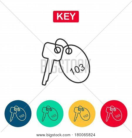 Room key line icon. Linear outline icon on white background. Hotel key icons for web and graphic design. Line style logo. Vector illustation.