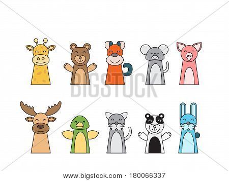 Theatrical performance for kids finger puppet theater, vector illustration isolated on white background