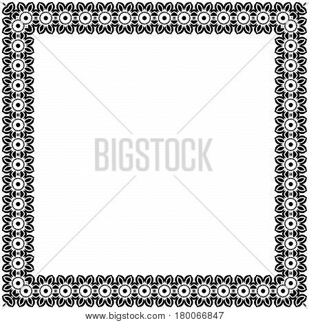 Classic vector square frame with arabesques and orient elements. Abstract black and white ornament with place for text. Vintage pattern