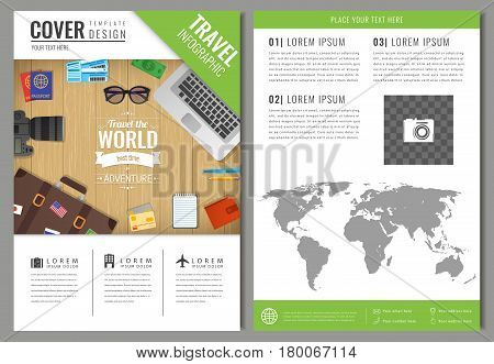 Travel brochure design. Template for Travel and Tourism concept. Vector illustration