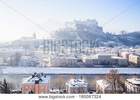 Historic City Of Salzburg In Winter, Austria
