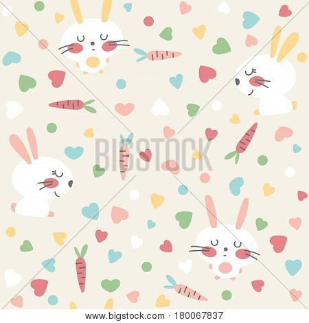 Vector seamless pattern with hare carrot and hearts on a light background.
