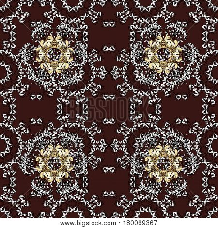 Golden pattern on brown background with golden elements. Ornate vector decoration. Seamless damask pattern background for sketch design in the style of Baroque.