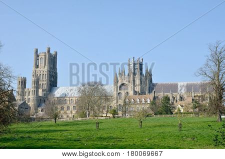 Ely Cathedral with fields in the   foreground