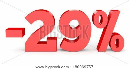 Minus Twenty Nine Percent. Discount 29 %.