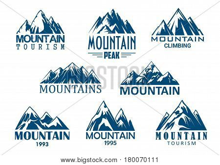 Mountain tourism and rock climbing icon set. Mountain top blue silhouette with snowy peak, steep rocky hill and mountain crest nature landscape for outdoor adventure, extreme sport and travel design