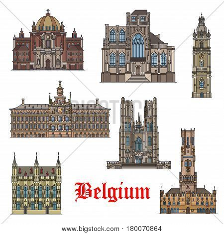 Belgian travel landmarks thin line icon. Belfry of Mons, Antwerp City Hall, Belfry of Bruges, Church of St Christopher, Church of St Peter, Town Hall of Bruges, Cathedral of St Michael and St Gudula
