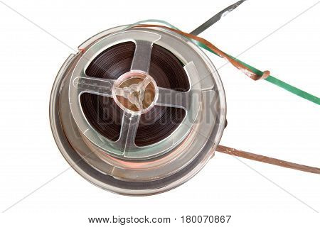 audio magetic reel tape isolated on white