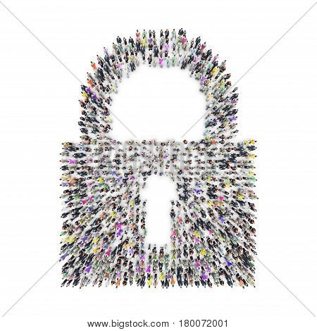 Aerial view of men and women that are grouping in padlock shape. 3D Rendering