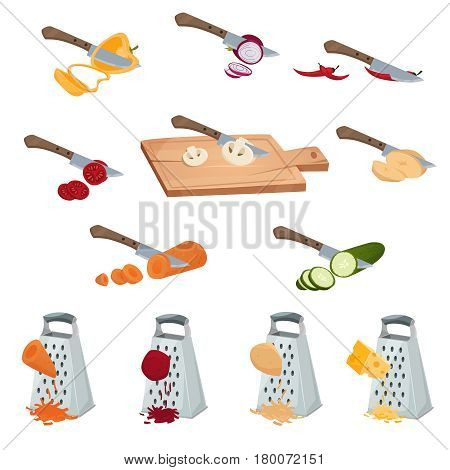 Vegetables preparing set of tools for chopping cutting by knife and grater isolated vector illustration