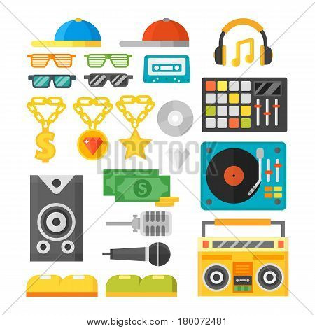 Hip hop accessory musician with microphone breakdance expressive rap symbols. Modern fashion person dancer trendy icons lifestyle urban handsome rapper teenager expressive sign.