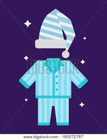 Sleep time pajamas icon flat isolated vector illustration. Sleep icon sweat dream. Night rest human pyjamas isolated dream bedroom bedtime pyjamassleepwear icon