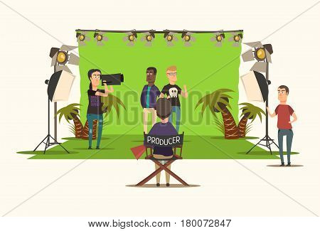 Movie making flat composition with producer assistant cameraman and actors on white background vector illustration