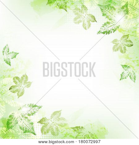 Abstract spring leaves imprints background with space to your text