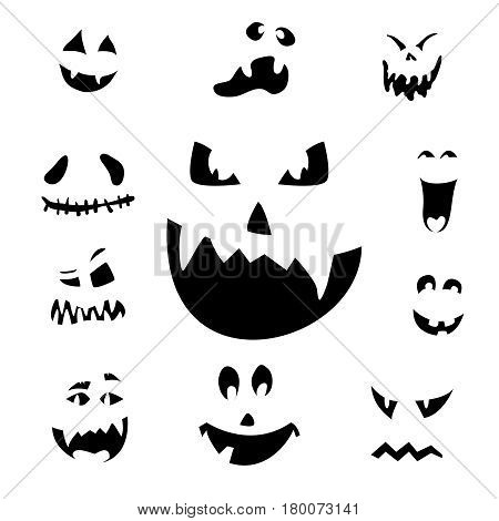 Vector illustration of scary Halloween pumpkin faces icons on white background. Set scary Halloween pumpkin faces emotions silhouette isolated for your design card