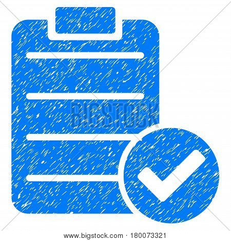 Grunge Approve List rubber seal stamp watermark. Icon symbol with grunge design and dirty texture. Unclean vector blue emblem.