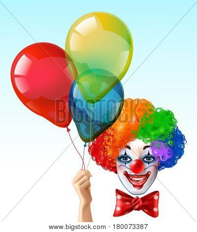 Circus clown smiling face with bright three color wig and hand holding balloons realistic funny vector illustration