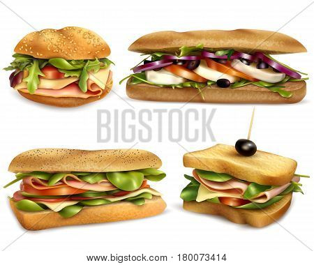 Fresh healthy whole grain sandwiches set with cheese ham mozzarella tomatoes onion and olives realistic vector illustration
