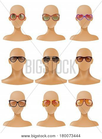 Partial body parts realistic mannequins bald heads with fashionable sunglasses windows display collection  realistic isolated vector illustration