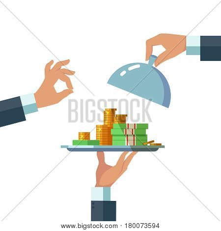 Design concept of easy money. Vector illustration of business hand tray with easy money stack of gild coins dollars on white background. Bank gives a loan credit mortgage installment