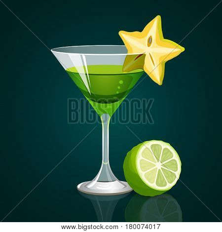 Green cocktail in glass of triangular shape and star fruit on brim with lime part on dark background. Party alcoholic beverage template vector illustration in flat realistic design.