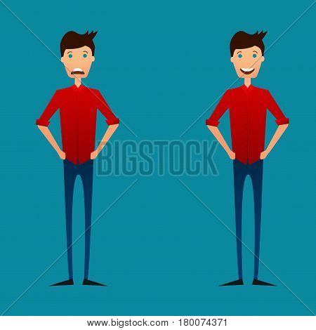 Man with negative and positive emotions. Young handsome man showing diffent face expression. Vector. Flat style.