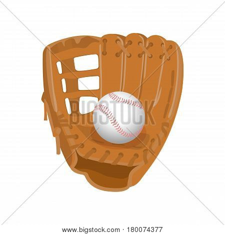 Baseball equipment colorful vector flat collection on white. Isolated light brown leather glove, white ball in realistic style. Sport template poster with accessories for paying team game