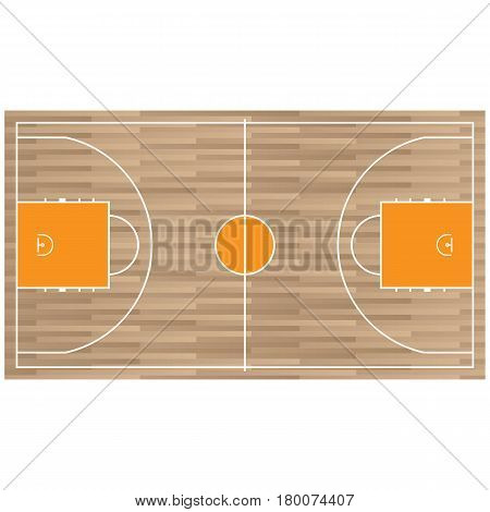 Wooden baseball court top view icon isolated on white. Vector illustration of playing pitch with marks for participators playing game. Special sport field template in flat design realistic style