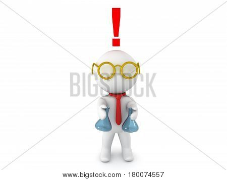 3D Character dressed as scientist experimenting with different chemicals with exclamation point above his head signifying he has made a breakthrough.